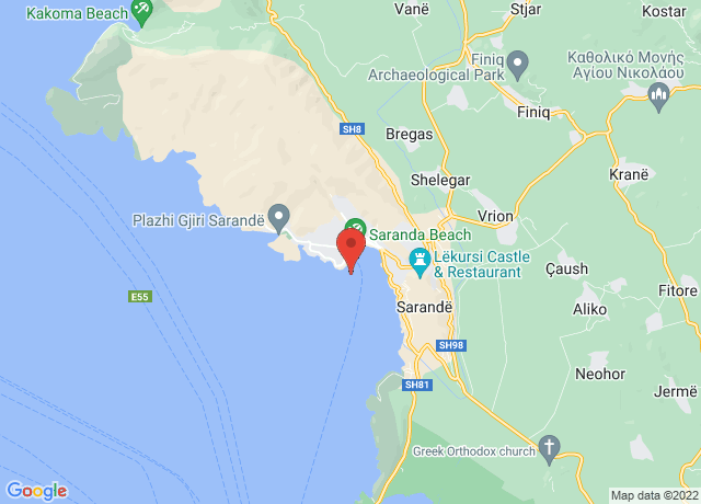 Map showing the location of Sarande