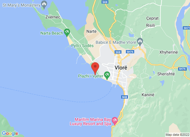Map showing the location of Vlore