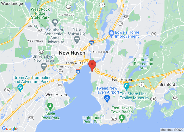 Map showing the location of New Haven