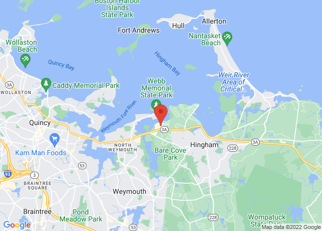 Map showing the location of Hingham Shipyard