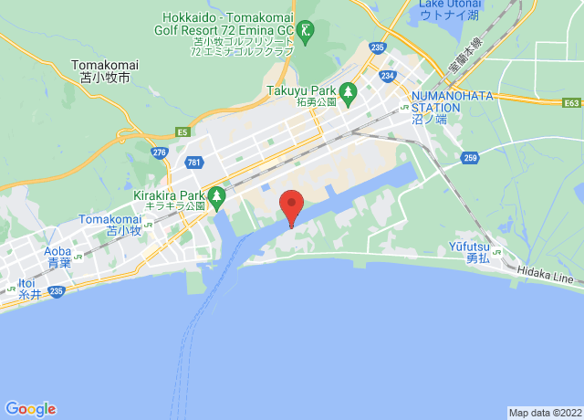Map showing the location of Tomakomai