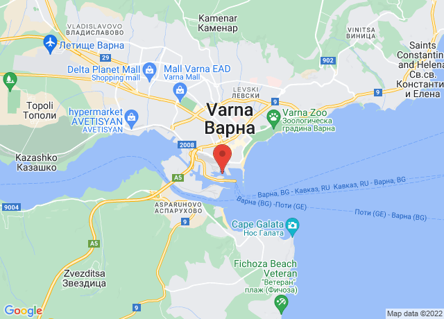 Map showing the location of Varna East