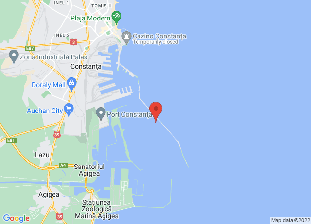 Map showing the location of Constanta