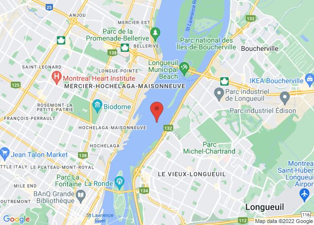 Map showing the location of Montreal
