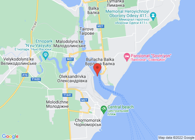 Map showing the location of Illichivsk