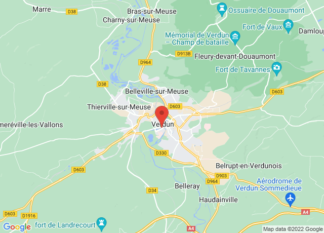 Map showing the location of Verdun