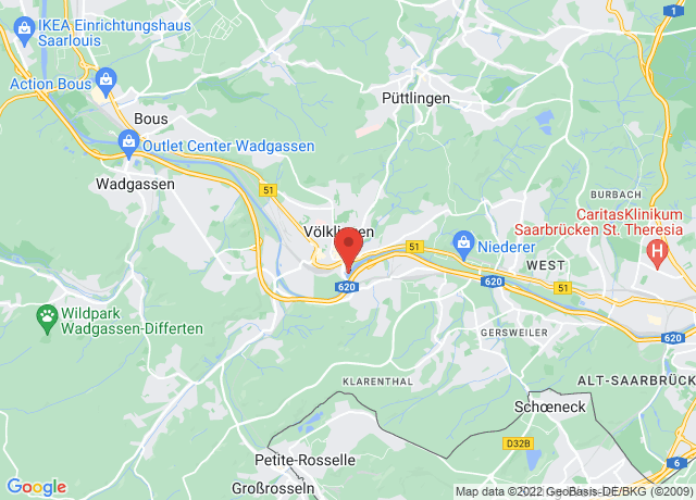 Map showing the location of Volklingen