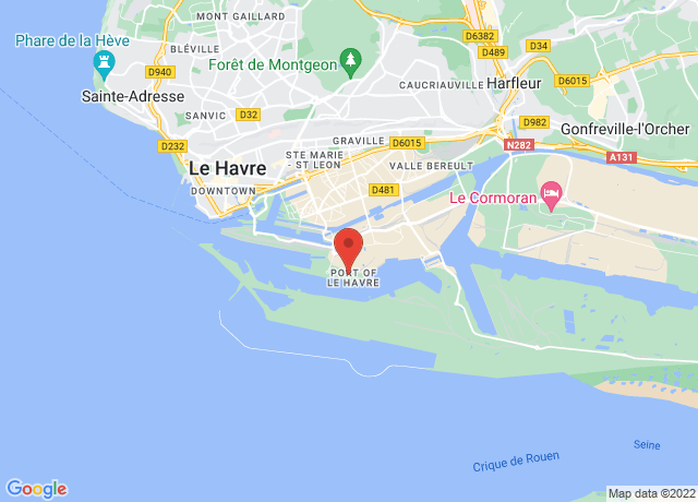 Map showing the location of Le Havre