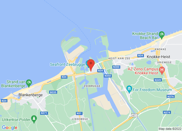 Map showing the location of Zeebrugge