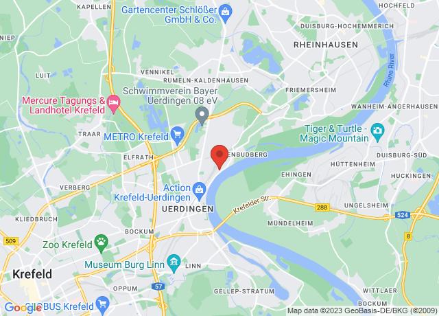 Map showing the location of Krefeld-uerdingen
