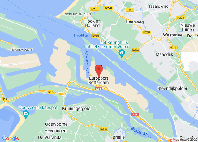 Map showing the location of Rotterdam