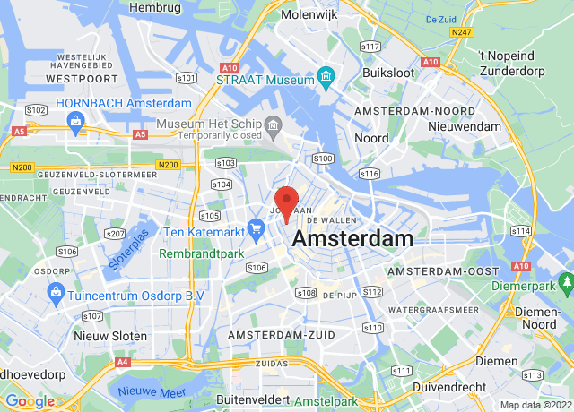 Map showing the location of Amsterdam