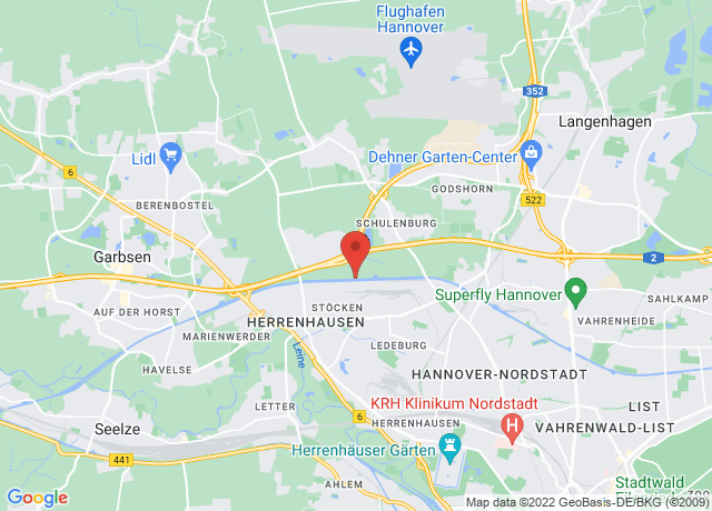 Map showing the location of Nordhafen Hannover