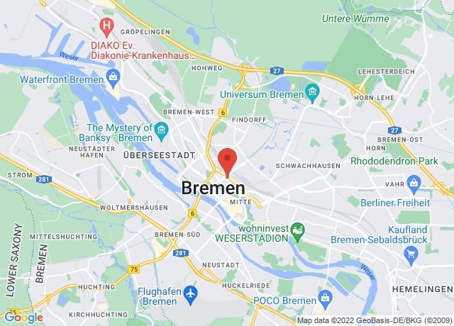 Map showing the location of Bremen