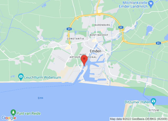 Map showing the location of Emden