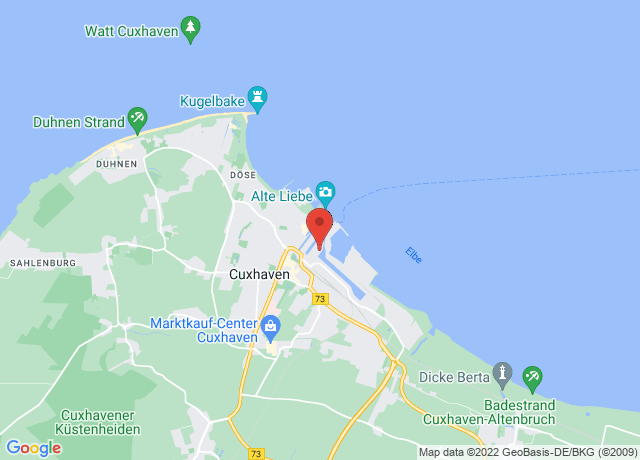 Map showing the location of Cuxhaven