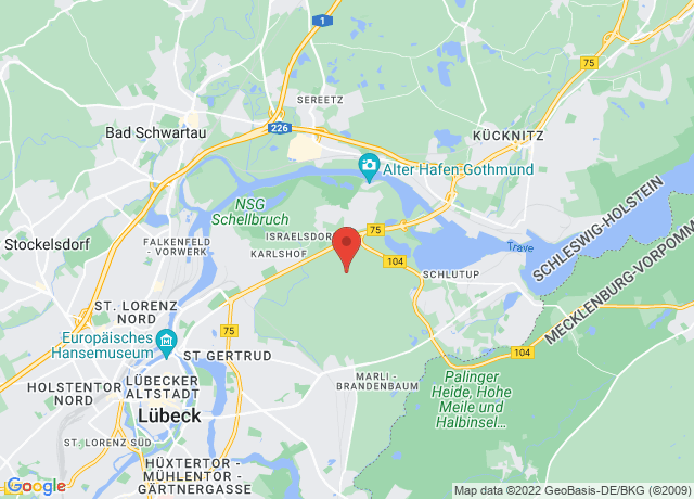 Map showing the location of Lubeck