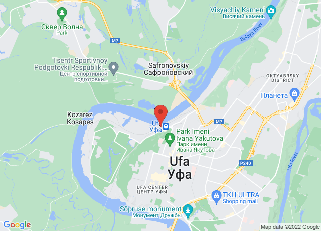 Map showing the location of Ufa