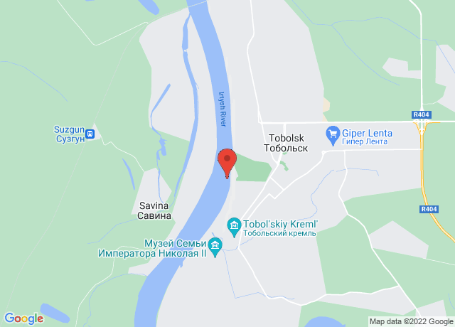Map showing the location of Tobolsk