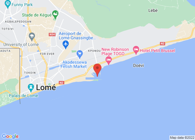 Map showing the location of Lome