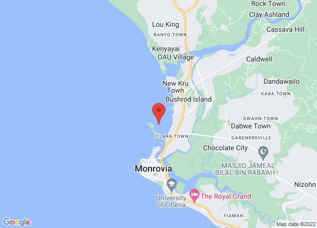 Map showing the location of Monrovia
