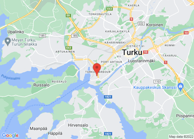 Map showing the location of Turku