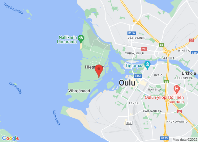 Map showing the location of Oulu