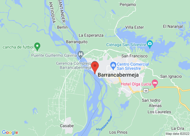 Map showing the location of Barrancabermeja