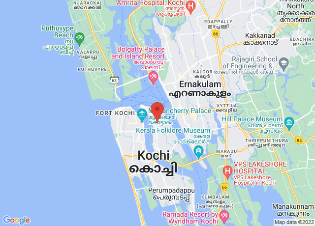 Map showing the location of Cochin