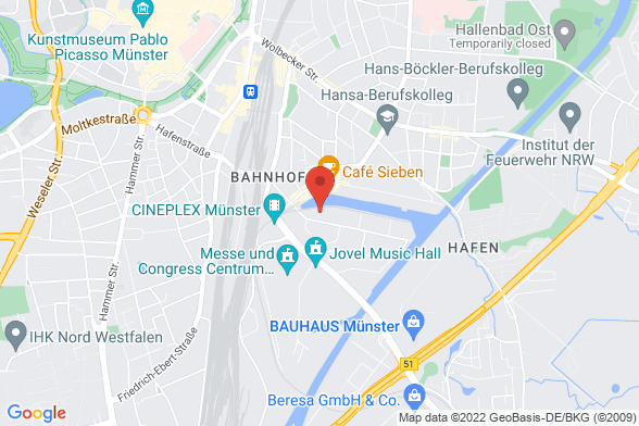 https://maps.googleapis.com/maps/api/staticmap?markers=color:red|Am Mittelhafen 10 48155 Münster&center=Am Mittelhafen 10 48155 Münster&zoom=14&size=588x392&key=AIzaSyBq_Y8YRNWV5l-KFo7MeT1QgfjIbI8vc3c