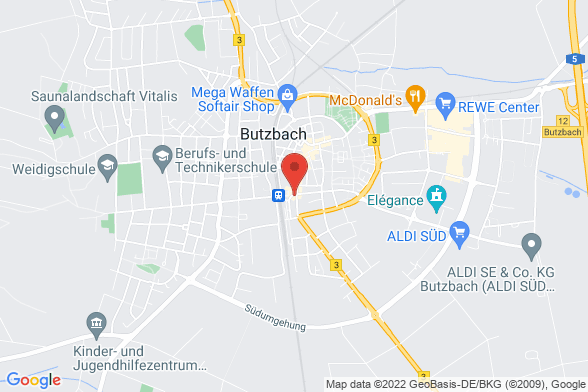 https://maps.googleapis.com/maps/api/staticmap?markers=color:red|Bahnhofsplatz 2 35510 Butzbach&center=Bahnhofsplatz 2 35510 Butzbach&zoom=14&size=588x392&key=AIzaSyBq_Y8YRNWV5l-KFo7MeT1QgfjIbI8vc3c