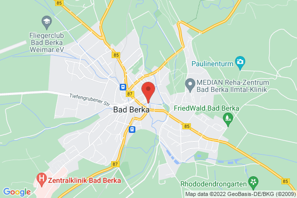 https://maps.googleapis.com/maps/api/staticmap?markers=color:red|Bahnhofstrasse 11 99438 Bad Berka¢er=Bahnhofstrasse 11 99438 Bad Berka&zoom=14&size=588x392&key=AIzaSyBq_Y8YRNWV5l-KFo7MeT1QgfjIbI8vc3c