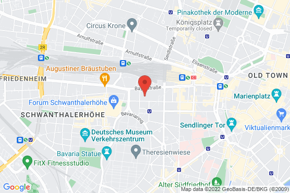 https://maps.googleapis.com/maps/api/staticmap?markers=color:red|Bayerstraße 85a 80335 München&center=Bayerstraße 85a 80335 München&zoom=14&size=588x392&key=AIzaSyBq_Y8YRNWV5l-KFo7MeT1QgfjIbI8vc3c