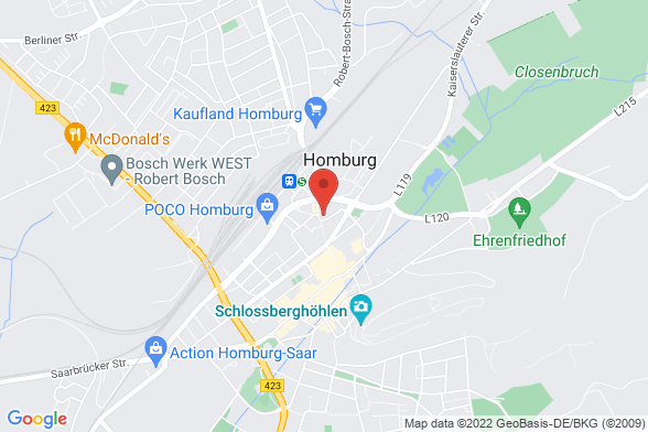 https://maps.googleapis.com/maps/api/staticmap?markers=color:red|Eisenbahnstraße 47 66424 Homburg&center=Eisenbahnstraße 47 66424 Homburg&zoom=14&size=588x392&key=AIzaSyBq_Y8YRNWV5l-KFo7MeT1QgfjIbI8vc3c