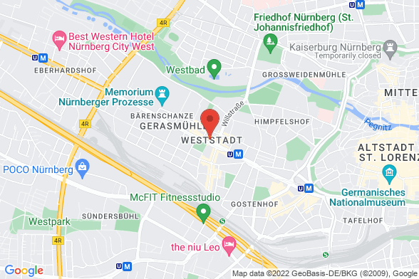 https://maps.googleapis.com/maps/api/staticmap?markers=color:red|Fürther Straße 64b 90429 Nürnberg&center=Fürther Straße 64b 90429 Nürnberg&zoom=14&size=588x392&key=AIzaSyBq_Y8YRNWV5l-KFo7MeT1QgfjIbI8vc3c