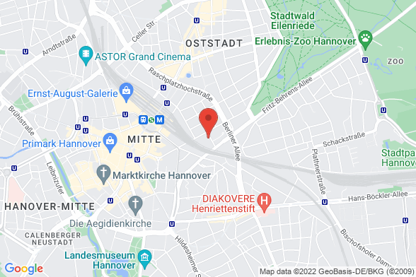 https://maps.googleapis.com/maps/api/staticmap?markers=color:red|Hinüberstraße 18 30175 Hannover&center=Hinüberstraße 18 30175 Hannover&zoom=14&size=588x392&key=AIzaSyBq_Y8YRNWV5l-KFo7MeT1QgfjIbI8vc3c
