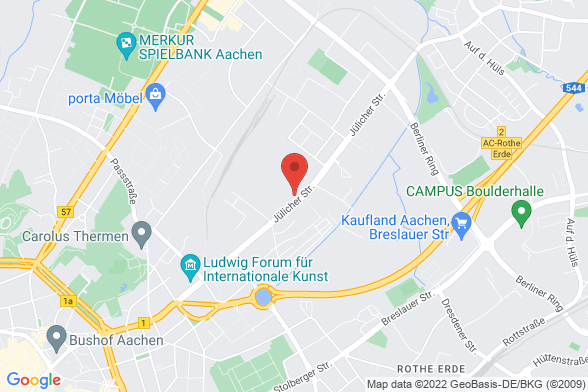 https://maps.googleapis.com/maps/api/staticmap?markers=color:red|Jülicher Straße 215 52070 Aachen&center=Jülicher Straße 215 52070 Aachen&zoom=14&size=588x392&key=AIzaSyBq_Y8YRNWV5l-KFo7MeT1QgfjIbI8vc3c