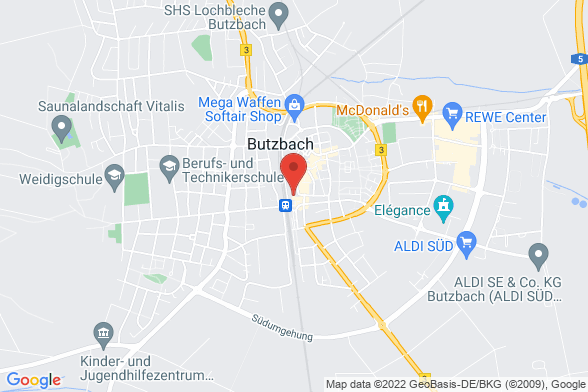 https://maps.googleapis.com/maps/api/staticmap?markers=color:red|Ludwigstrasse 1 35510 Butzbach&center=Ludwigstrasse 1 35510 Butzbach&zoom=14&size=588x392&key=AIzaSyBq_Y8YRNWV5l-KFo7MeT1QgfjIbI8vc3c