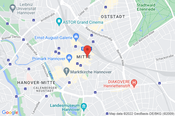 https://maps.googleapis.com/maps/api/staticmap?markers=color:red|Luisenstraße 5 30159 Hannover&center=Luisenstraße 5 30159 Hannover&zoom=14&size=588x392&key=AIzaSyBq_Y8YRNWV5l-KFo7MeT1QgfjIbI8vc3c