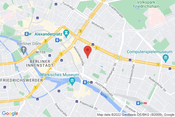 https://maps.googleapis.com/maps/api/staticmap?markers=color:red|Magazinstraße 15-16 10179 Berlin&center=Magazinstraße 15-16 10179 Berlin&zoom=14&size=588x392&key=AIzaSyBq_Y8YRNWV5l-KFo7MeT1QgfjIbI8vc3c