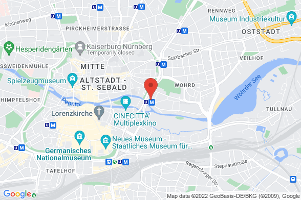 https://maps.googleapis.com/maps/api/staticmap?markers=color:red|Prinzregentenufer 3 90489 Nürnberg&center=Prinzregentenufer 3 90489 Nürnberg&zoom=14&size=588x392&key=AIzaSyBq_Y8YRNWV5l-KFo7MeT1QgfjIbI8vc3c