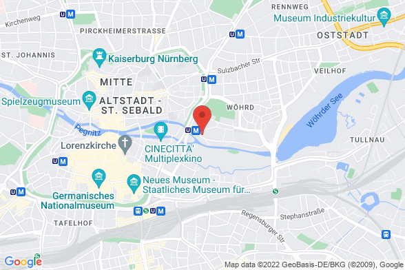 https://maps.googleapis.com/maps/api/staticmap?markers=color:red|Prinzregentenufer 9 90489 Nürnberg&center=Prinzregentenufer 9 90489 Nürnberg&zoom=14&size=588x392&key=AIzaSyBq_Y8YRNWV5l-KFo7MeT1QgfjIbI8vc3c