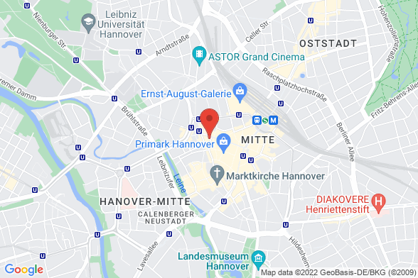 https://maps.googleapis.com/maps/api/staticmap?markers=color:red|Schmiedestraße 41 30159 Hannover&center=Schmiedestraße 41 30159 Hannover&zoom=14&size=588x392&key=AIzaSyBq_Y8YRNWV5l-KFo7MeT1QgfjIbI8vc3c