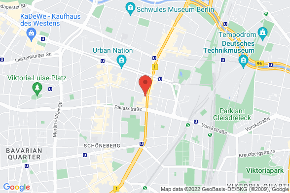 https://maps.googleapis.com/maps/api/staticmap?markers=color:red|Winterfeldtstraße 1 10781 Berlin&center=Winterfeldtstraße 1 10781 Berlin&zoom=14&size=588x392&key=AIzaSyBq_Y8YRNWV5l-KFo7MeT1QgfjIbI8vc3c