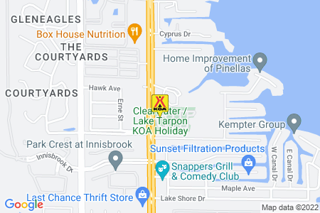Clearwater / Lake Tarpon KOA Holiday Map