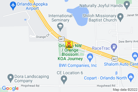 Orlando NW / Orange Blossom KOA Journey Map