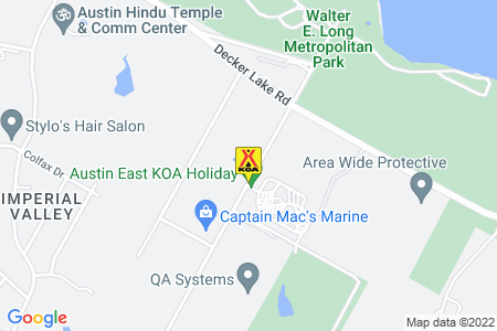 Austin East KOA Holiday Map