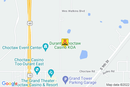 Durant / Choctaw Casino KOA Map