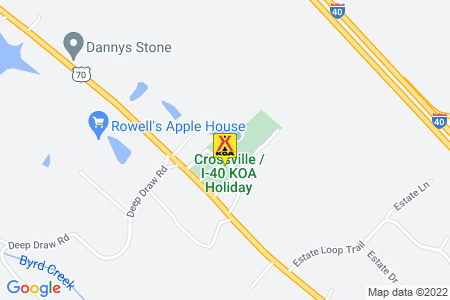 Crossville / I-40 KOA Map