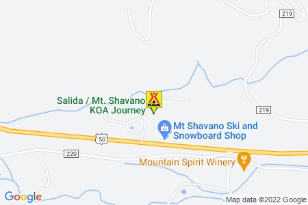 Salida / Mt. Shavano KOA Map